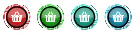 Shopping basket round glossy vector icons, set of buttons for webdesign, internet and mobile phone applications in four colors options isolated on white background 일러스트