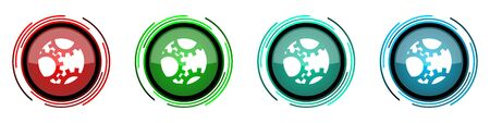 Gear round glossy vector icons, set of buttons for webdesign, internet and mobile phone applications in four colors options isolated on white background