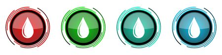 Water drop round glossy vector icons, set of buttons for webdesign, internet and mobile phone applications in four colors options isolated on white background