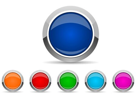 set of silver metallic chrome border web buttons in 6 color options, vector icons template