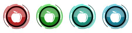 Apple round glossy vector icons, set of buttons for webdesign, internet and mobile phone applications in four colors options isolated on white background