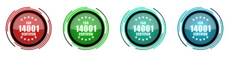 Iso 14001 round glossy vector icons, set of buttons for webdesign, internet and mobile phone applications in four colors options isolated on white background