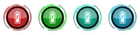Battery round glossy vector icons, set of buttons for webdesign, internet and mobile phone applications in four colors options isolated on white background