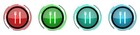 Eat round glossy vector icons, set of buttons for webdesign, internet and mobile phone applications in four colors options isolated on white background