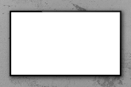Empty blank television screen on concrete wall, 3D rendering