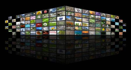 Multimedia, television and internet concept illustration, tv news background on black with empty copy space Stock fotó