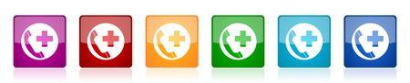 Emergency call icon set, colorful square glossy vector illustrations in 6 options for web design and mobile applications