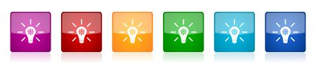 Idea icon set, solution, bulb, innovation colorful square glossy vector illustrations in 6 options for web design and mobile applications Ilustracja