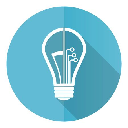 Creative blue round flat design vector icon isolated on white background, idea, bulb, circuit illustration in eps 10