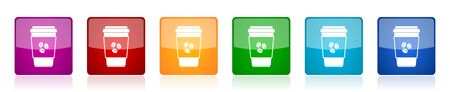 Plastic cup of coffe icon set, hot drink colorful square glossy vector illustrations in 6 options for web design and mobile applications Ilustração