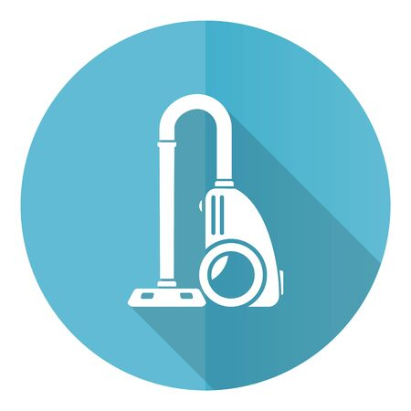 Vacuum cleaner blue round flat design vector icon isolated on white background