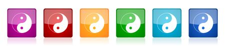 Ying yang icon set, colorful square glossy vector illustrations in 6 options for web design and mobile applications