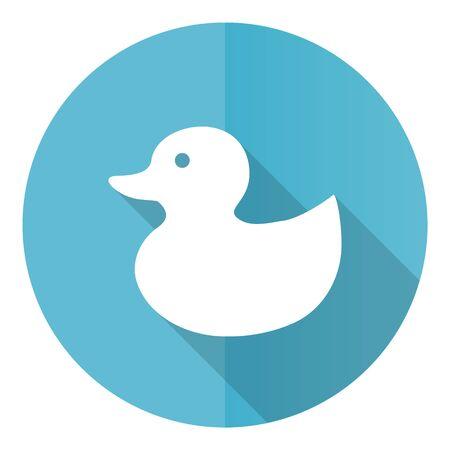 Duck toy, bird blue round flat design vector icon isolated on white background Archivio Fotografico - 142271146