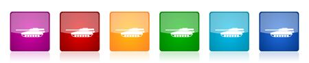 Tank icon set, army, military, war vehicle colorful square glossy vector illustrations in 6 options for web design and mobile applications