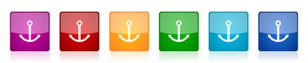 Anchor icon set, colorful square glossy vector illustrations in 6 options for web design and mobile applications Ilustração