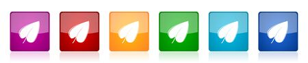 Leaf icon set, colorful square glossy vector illustrations in 6 options for web design and mobile applications