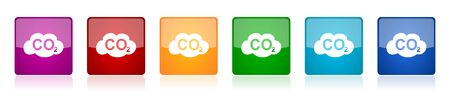 Carbon dioxide icon set, colorful square glossy vector illustrations in 6 options for web design and mobile applications  イラスト・ベクター素材