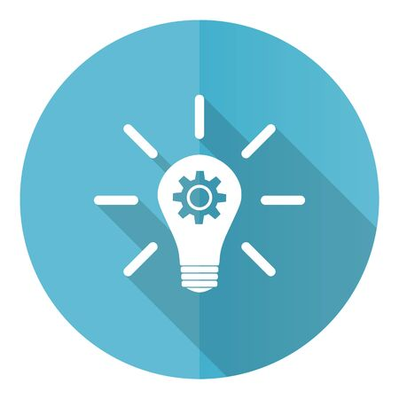 Idea blue round flat design vector icon isolated on white background, solution, bulb, innovation illustration