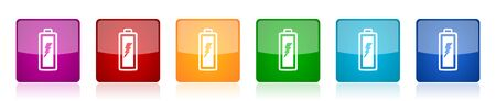 Battery icon set, colorful square glossy vector illustrations in 6 options for web design and mobile applications