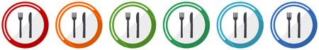 Eat icon set, flat design vector illustration in 6 colors options for webdesign and mobile applications 向量圖像