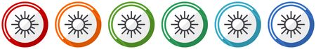 Sun icon set, flat design vector illustration in 6 colors options for webdesign and mobile applications Ilustrace