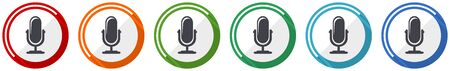 Microphone icon set, flat design vector illustration in 6 colors options for webdesign and mobile applications