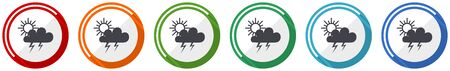 Storm icon set, flat design vector illustration in 6 colors options for webdesign and mobile applications