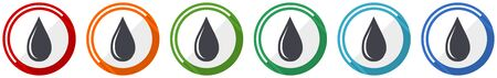 Water drop icon set, flat design vector illustration in 6 colors options for webdesign and mobile applications