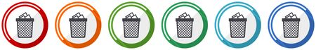 Trash, can icon set, flat design vector illustration in 6 colors options for webdesign and mobile applications