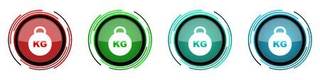 Kilogram round glossy vector icons, kilo, kg, weight set of buttons for webdesign, internet and mobile phone applications in four colors options isolated on white background