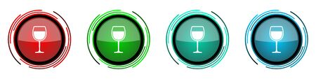 Alcohol round glossy vector icons, glass set of buttons for webdesign, internet and mobile phone applications in four colors options isolated on white background