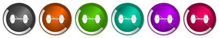 Fitness icon set, silver metallic chrome border vector web buttons in 6 colors options for webdesign Ilustración de vector