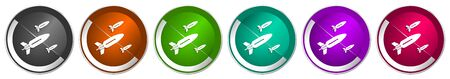 Missile icon set, rocket, weapon, war silver metallic chrome border vector web buttons in 6 colors options for webdesign