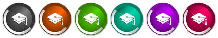 Education icon set, silver metallic chrome border vector web buttons in 6 colors options for webdesign