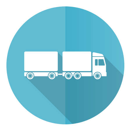 Truck with long semi trailer blue round flat design vector icon isolated on white background, transport illustration