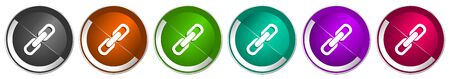 Link icon set, silver metallic chrome border vector web buttons in 6 colors options for webdesign
