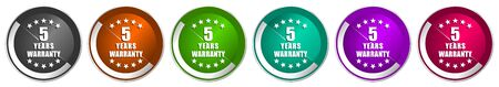Warranty guarantee 5 year icon set, silver metallic chrome border vector web buttons in 6 colors options for webdesign