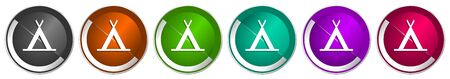 Camp icon set, silver metallic chrome border vector web buttons in 6 colors options for webdesign