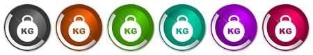 Kilogram icon set, kilo, kg, weight silver metallic chrome border vector web buttons in 6 colors options for webdesign