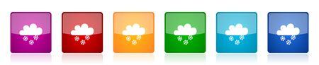 Snowing icon set, colorful square glossy vector illustrations in 6 options for web design and mobile applications
