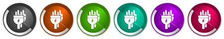 Eletricity icon set, energy, power, plug silver metallic chrome border vector web buttons in 6 colors options for webdesign