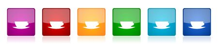 Cofeee icon set, colorful square glossy vector illustrations in 6 options for web design and mobile applications