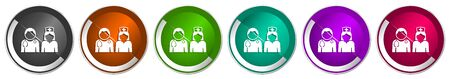 Doctor icon set, silver metallic chrome border vector web buttons in 6 colors options for webdesign Иллюстрация