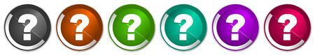 Question mark icon set, silver metallic chrome border vector web buttons in 6 colors options for webdesign 向量圖像
