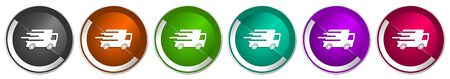 Speed transport icon set, fast delivery, truck silver metallic chrome border vector web buttons in 6 colors options for webdesign