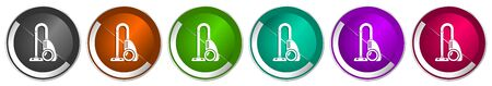 Vacuum cleaner icon set, silver metallic chrome border vector web buttons in 6 colors options for webdesign