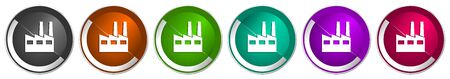Factory icon set, industrial building silver metallic chrome border vector web buttons in 6 colors options for webdesign