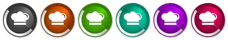Cook icon set, silver metallic chrome border vector web buttons in 6 colors options for webdesign