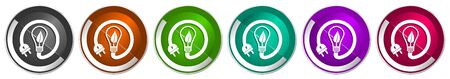 Ecology, eco bulb icon set, renewable energy silver metallic chrome border vector web buttons in 6 colors options for webdesign Illustration