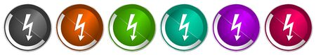 Bolt icon set, silver metallic chrome border vector web buttons in 6 colors options for webdesign